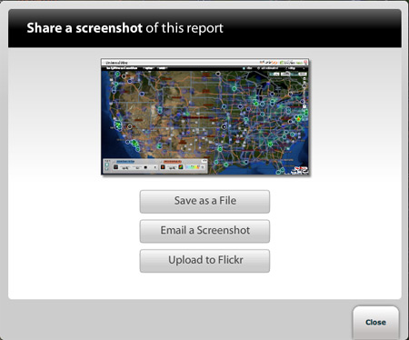 Options for sharing a screenshot of a report